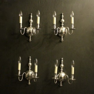 English Set Of 4 Silver Antique Wall Lights