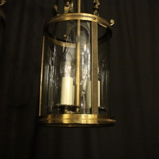 French Pair Triple Light Antique Lanterns