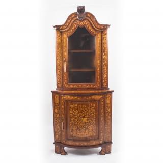 Antique Dutch Walnut & Floral Marquetry Corner Cabinet c.1780