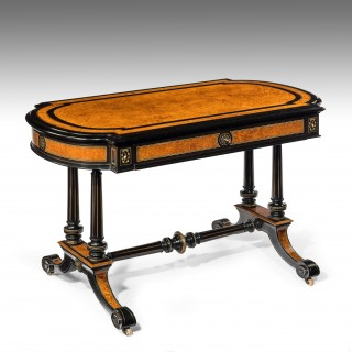 Antique Victorian Ebony and Amboyna Writing Table
