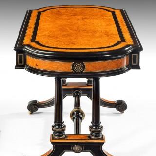 Antique Victorian Ebony and Amboyna Writing Table