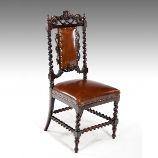 Victorian Rosewood Leather Side Chair