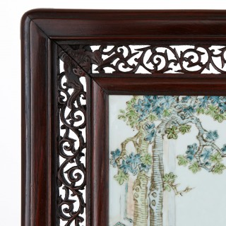 Antique Chinese rosewood screen with painted porcelain plaque