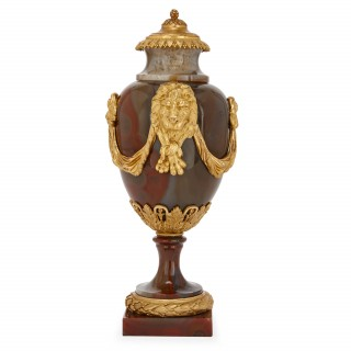 Pair of French Louis XVI period gilt bronze and agate vases
