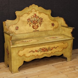 Venetian Bench In Lacquered And Painted Wood