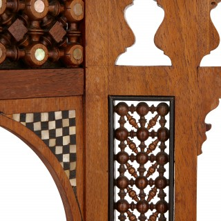 Moorish style Syrian walnut, ivory, ebony and mother of pearl dressing table