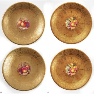 Antique Set of 4 Royal Worcester Acid Gilt plates Mid 20th c