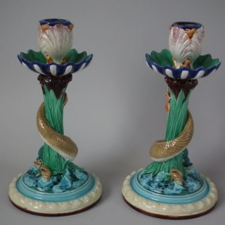 Pair Royal Worcester Majoica Dolphin & Shell Candlesticks
