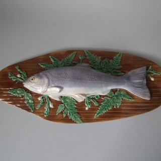 English Majolica Boat Tureen with Fish Cover