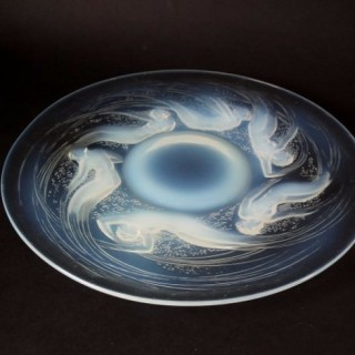René Lalique Opalescent Glass 'Ondines' Plate