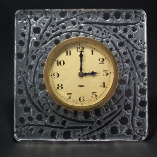 René Lalique Clear and frosted Glass 'Muguet' Clock