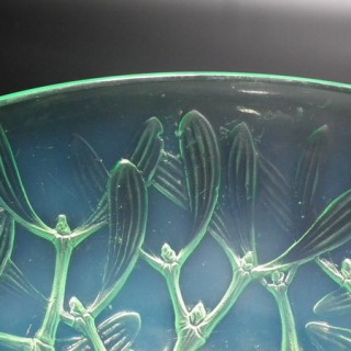 René Lalique Mint Green Opalescent Glass 'Gui No2' Bowl