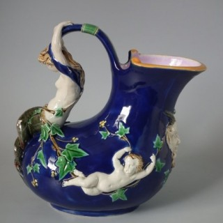 Minton Majolica Mermaid and Cherub Wine Pitcher