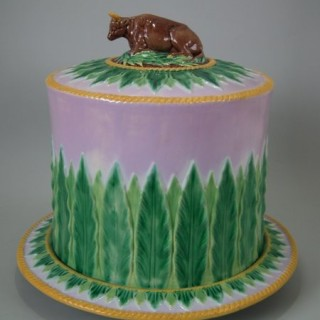 George Jones Majolica Cow Cheese Dome & Stand