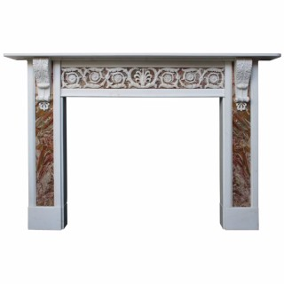 Antique 18th Century George III statuary white marble fire surround.