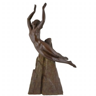 Art Deco bronze sculpture of a nude