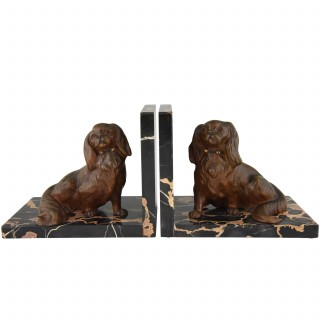 Art Deco bronze bookends King Charles spaniel dogs