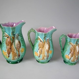 Set of 3 Holdcroft Majolica game pitchers