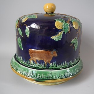 Majolica Cow & apple tree cheese dome & stand