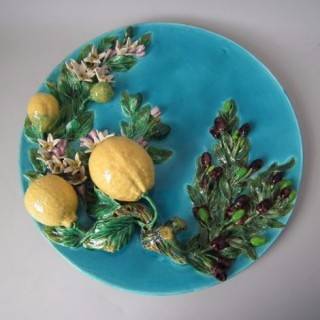 Large Menton Majolica Lemons & Olives Wall Plaque