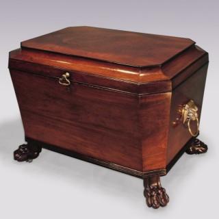 Antique Regency period mahogany sarcophagus Wine Cooler.