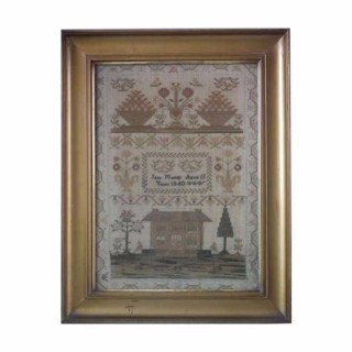 Antique Sampler, 1840 House Sampler by Jane Mundy