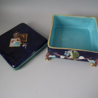 Holdcroft Majolica Square Box and Cover
