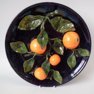 Cuhna Palissy Majolica oranges wall plate