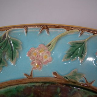 George Jones Majolica hawthorn with blossom cake platter