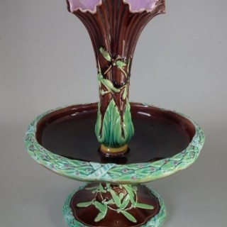 George Jones Majolica Mistletoe Epergne