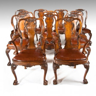 Set of 12 (10 + 2) Antique Walnut Leather Upholstered Dining Chairs