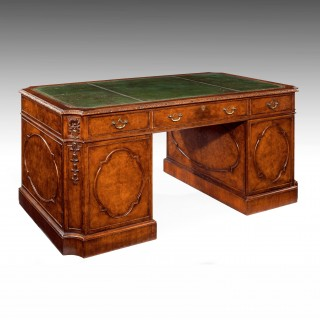 Burr Walnut Pedestal Desk Mid 20th Century