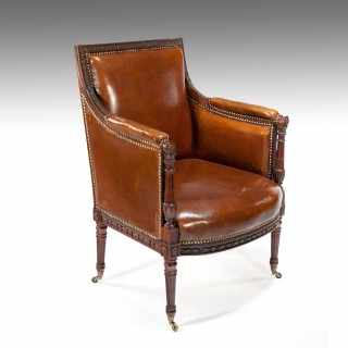 Fine Quality Antique Carved Mahogany Leather Armchair
