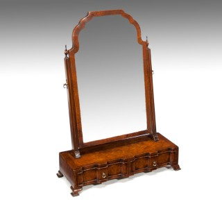 Burr Walnut Shaped Front Dressing -Toilet Mirror