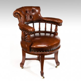 Victorian Oak Leathered Revolving Desk Chair By S & H Jewell