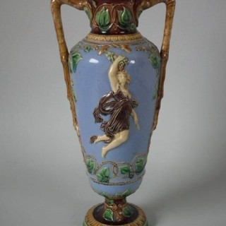 Minton Majolica Two Handled Classical Vase