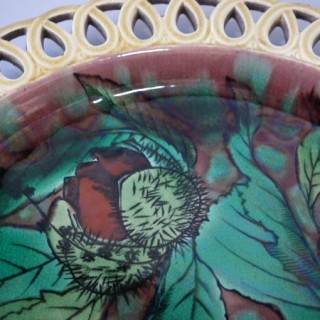 Wedgwood Majolica Horse Chestnut Plate with pierced rim