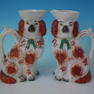 Pair Staffordshire Spaniel With Bow Jug/Pitchers
