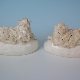 Mini Pair Staffordshire recumbent sheep