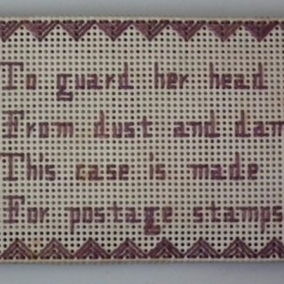 Needlework Sampler Postage Stamp Holder