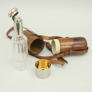 Glass Flask In Leather Case