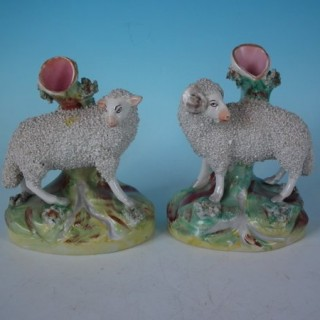Pair Staffordshire Sheep Spill Vases