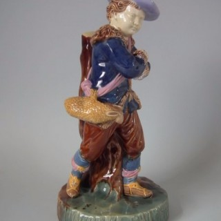 Copeland Majolica Figure of Boy titled 'WINTER'