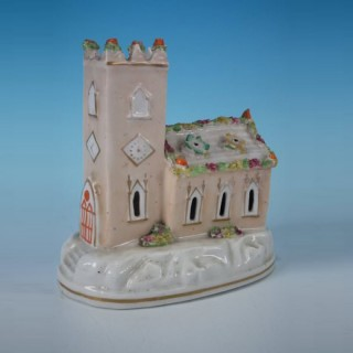 Staffordshire church with clock tower spill vase