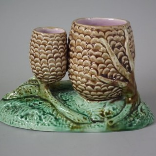Majolica Pine Cone Posy Holder