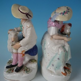 Pair Staffordshire Boy and Girl with Sheep and Dog