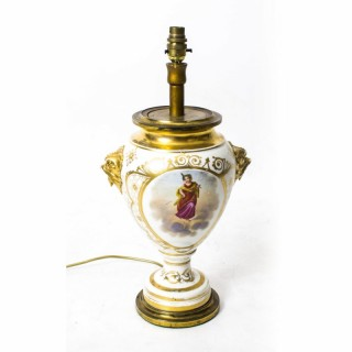 Antique French Hand Painted & Gilt Porcelain Lamp c.1850