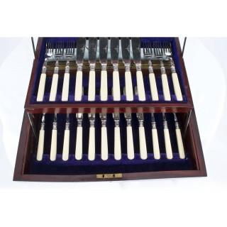Antique Victorian Boxed Set Fish Knives & Forks 1923