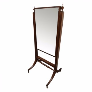Regency Style Inlaid Mahogany Cheval Mirror