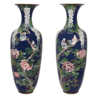Pair of antique cloisonne enamel Japanese Meiji period vases